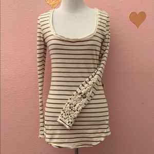 Free People long sleeve striped tee with crochet